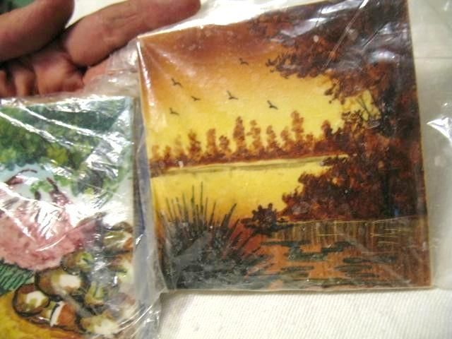 hand painted tiles scenes lake birds volcano mountain
